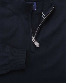 Navy cotton cashmere zip neck sweater