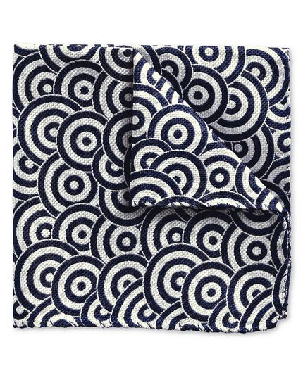 Blue and white circle end on end luxury pocket square