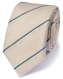 Stone silk mix Italian luxury stripe grenadine tie