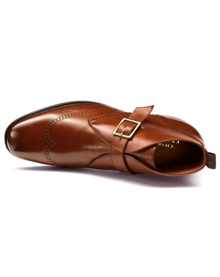 Tan Drift wing tip brogue monk boots