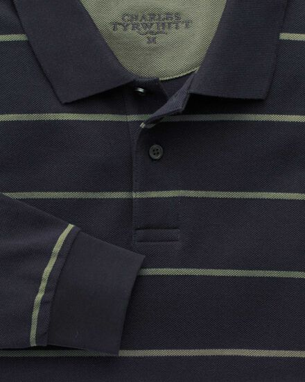 Navy and green stripe pique long sleeve polo