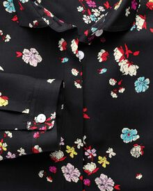Women's semi-fitted black multi floral print blouse