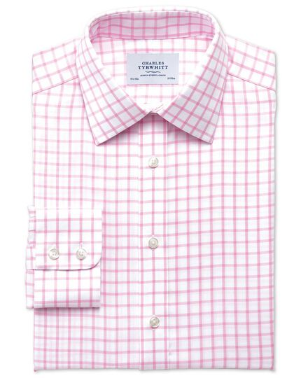 Classic fit non-iron twill grid check light pink shirt