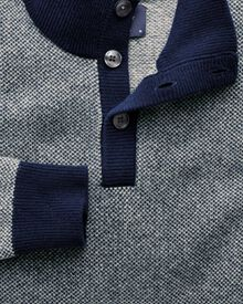 Blue jacquard button neck jumper