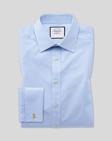 Classic fit small gingham sky blue shirt
