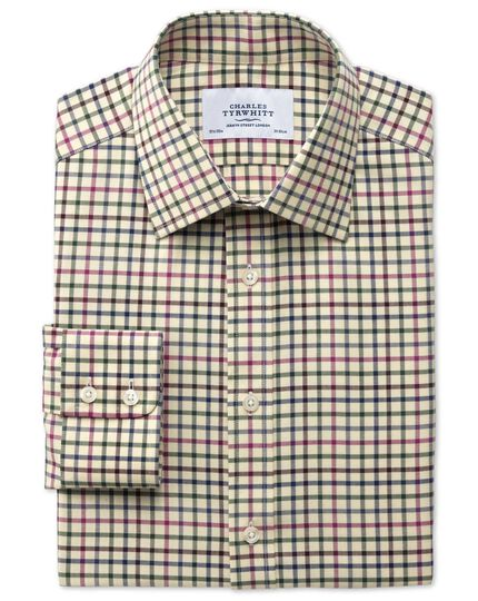 Slim fit country check pink and green shirt