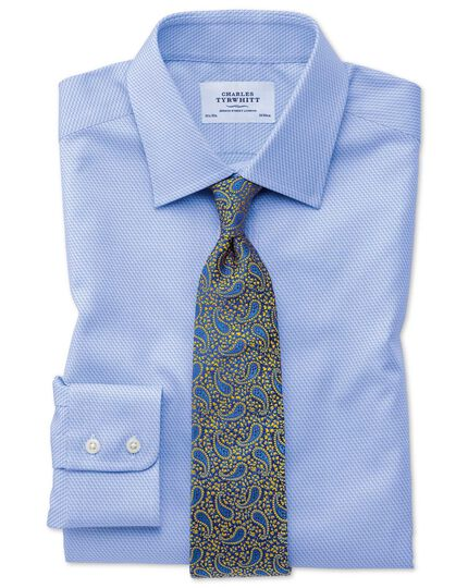 Slim fit Egyptian cotton diamond pattern sky blue shirt