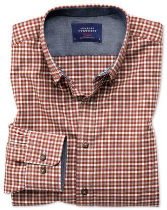 Slim fit button-down soft cotton rust multi check shirt