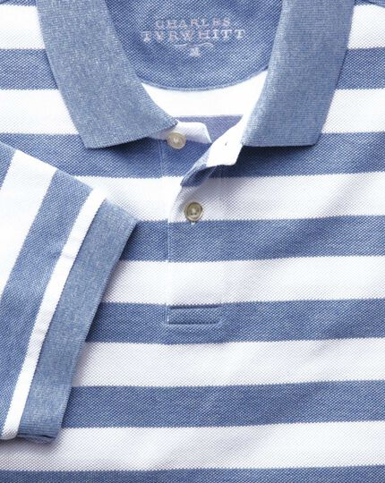 Sky blue and white stripe pique polo