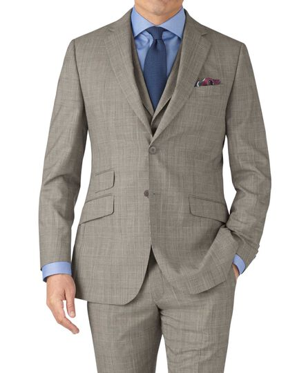 Grey Prince of Wales check slim fit Panama business suit jacket