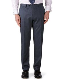 Airforce blue classic fit twill business suit trousers