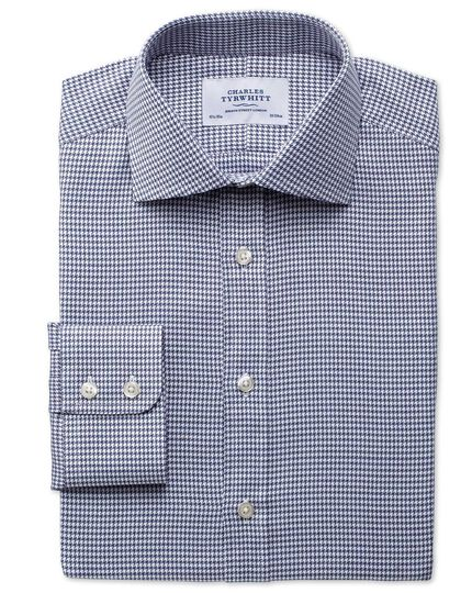 Slim fit semi-cutaway collar melange puppytooth indigo shirt