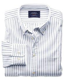 Extra slim fit grey stripe washed Oxford shirt