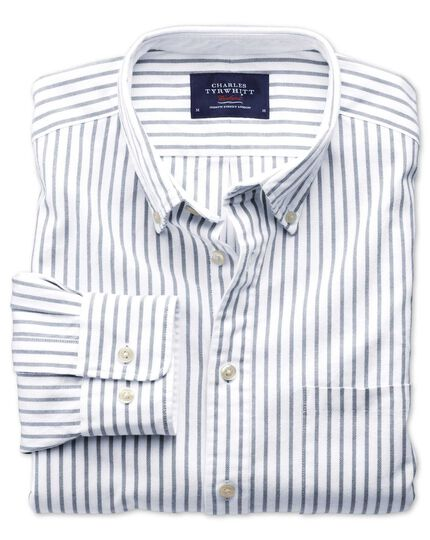 Extra slim fit grey stripe washed Oxford shirt