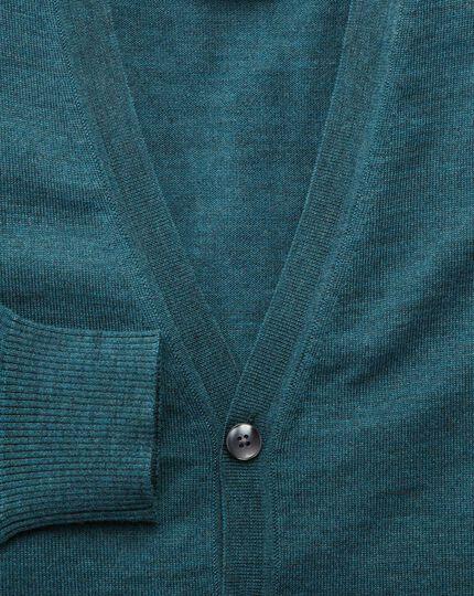 Green merino wool cardigan