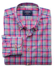 Slim fit pink and green check shirt