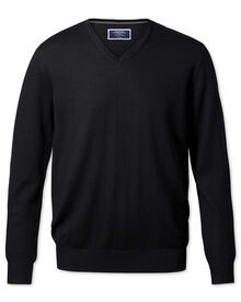 Black merino wool v-neck jumper