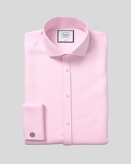 Slim fit cutaway collar non-iron twill pink shirt