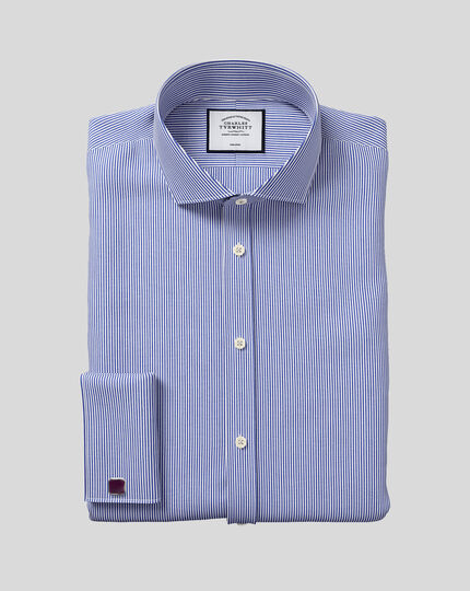 Slim fit spread collar non iron bengal stripe navy shirt
