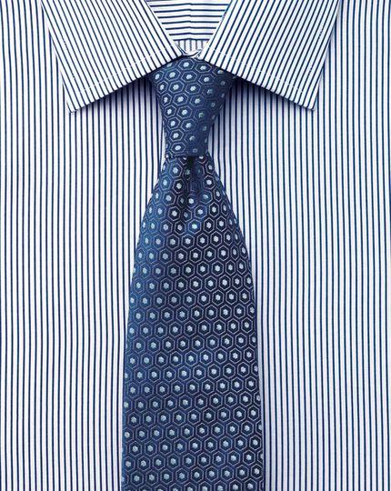 Slim fit raised stripe navy shirt