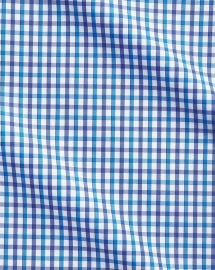 Classic fit two colour check blue shirt