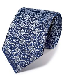 Navy and silver silk luxury English floral tie