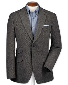 Slim fit grey luxury border tweed jacket