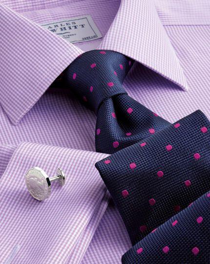 Navy and magenta silk classic spot tie
