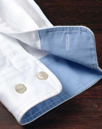 Slim fit white plain washed Oxford shirt