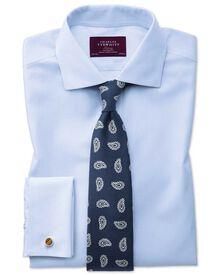 Extra slim fit semi-spread collar luxury stripe sky blue shirt