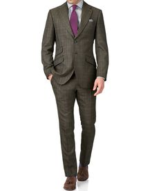 Khaki slim fit thornproof luxury suit