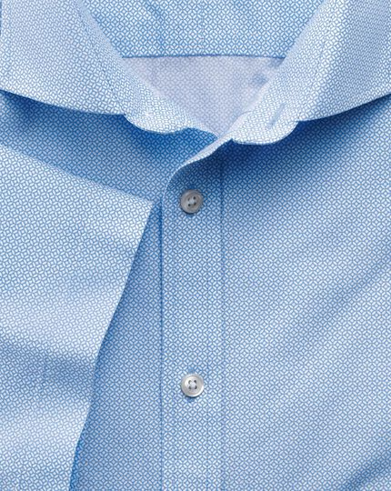 Slim fit sky blue short sleeve geometric print shirt