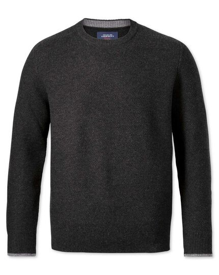 Charcoal merino cotton crew neck sweater