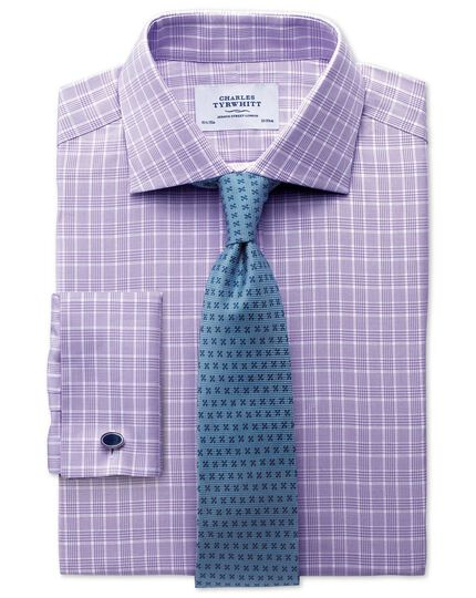 Slim fit Prince of Wales basketweave lilac shirt