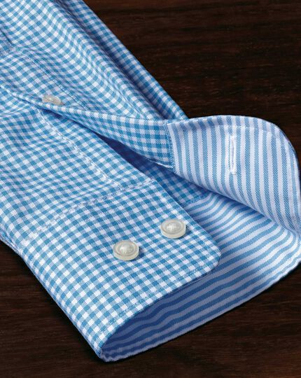 Extra slim fit non-iron Oxford chambray gingham blue shirt