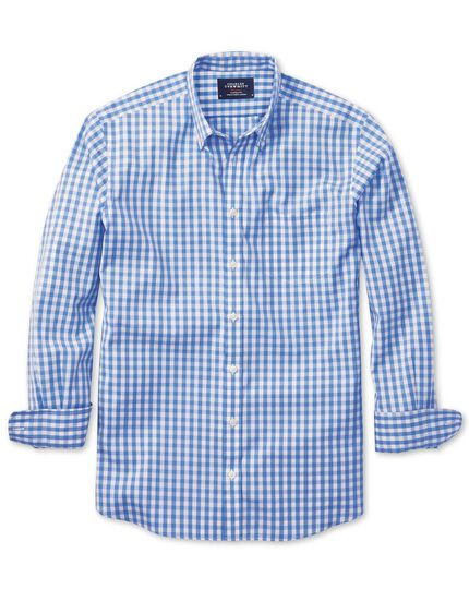 Extra slim fit non-iron poplin sky blue check shirt