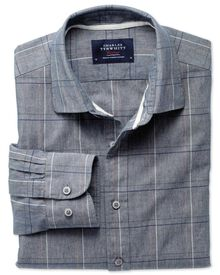Classic fit navy check shirt