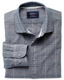 Classic fit navy check shirt