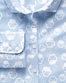 Women's semi-fitted cotton floral sky and white poplin shirt
