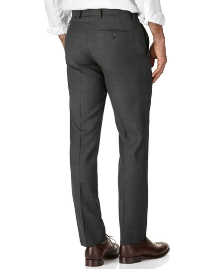 Grey slim fit sharkskin travel suit pants