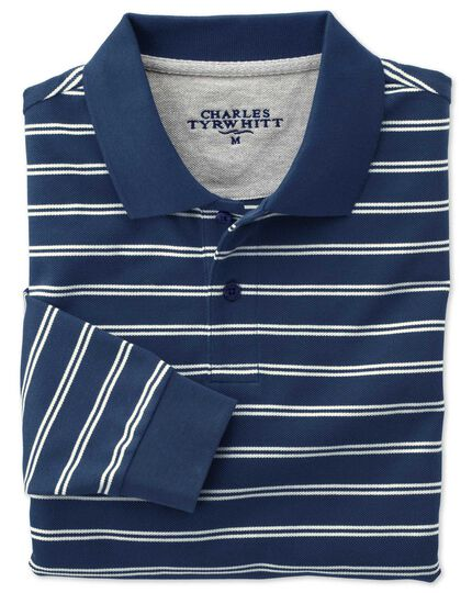 Classic fit blue and white striped pique long sleeve polo