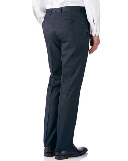 Airforce blue classic fit end-on-end business suit trousers