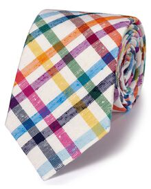 White multi silk luxury English check tie