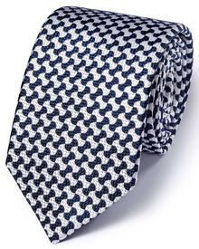 White and royal silk English luxury  end-on-end tie