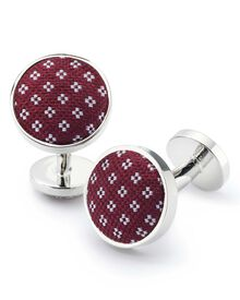 Burgundy geometric cufflinks