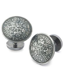 Antique silver domed sixpence cufflink