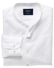 Slim Fit Hemd mit Grandad-Kragen in weiß
