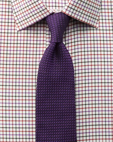 Classic fit country check purple and orange shirt