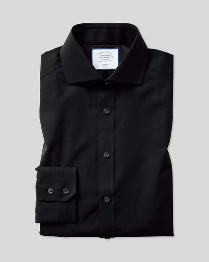 Slim fit spread collar non-iron poplin black shirt