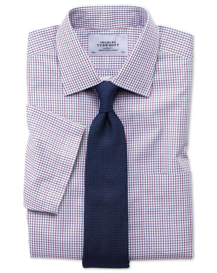 Slim fit non-iron multi grid check short sleeve shirt